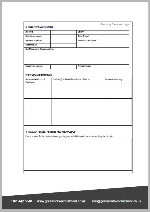 Job App Form 2 Grassroots Recruitment