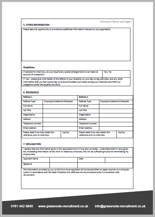 Job App Form 3 Grassroots Recruitment